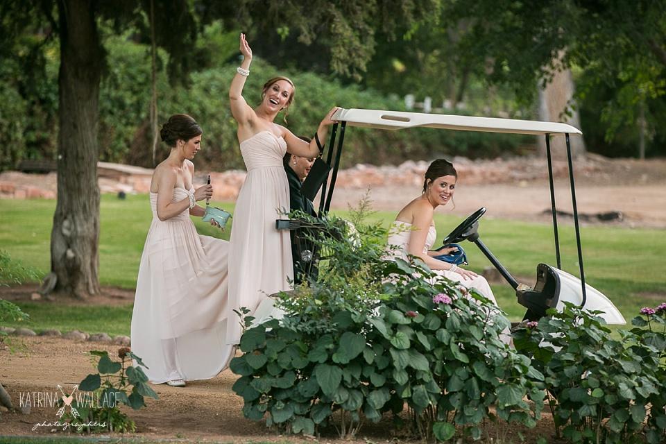 bridesmaids and a golf cart