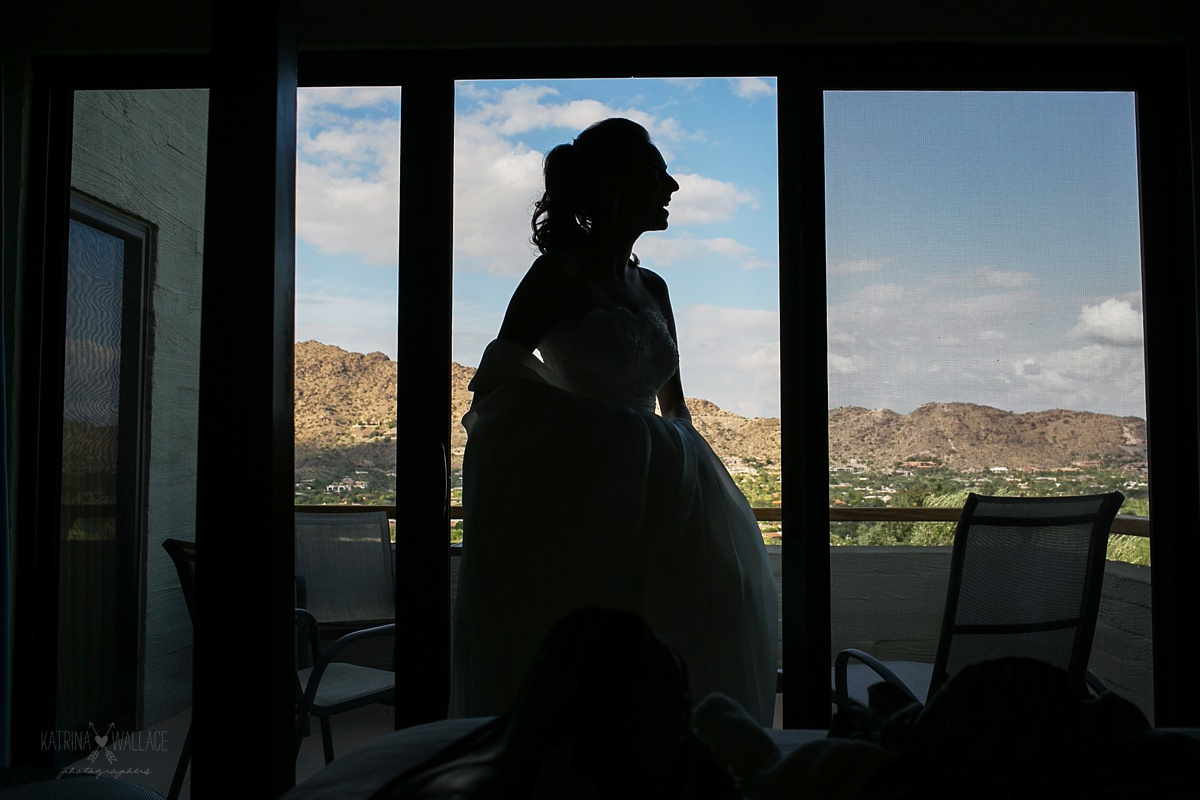 Silhouetted bride at Sanctuary Resort