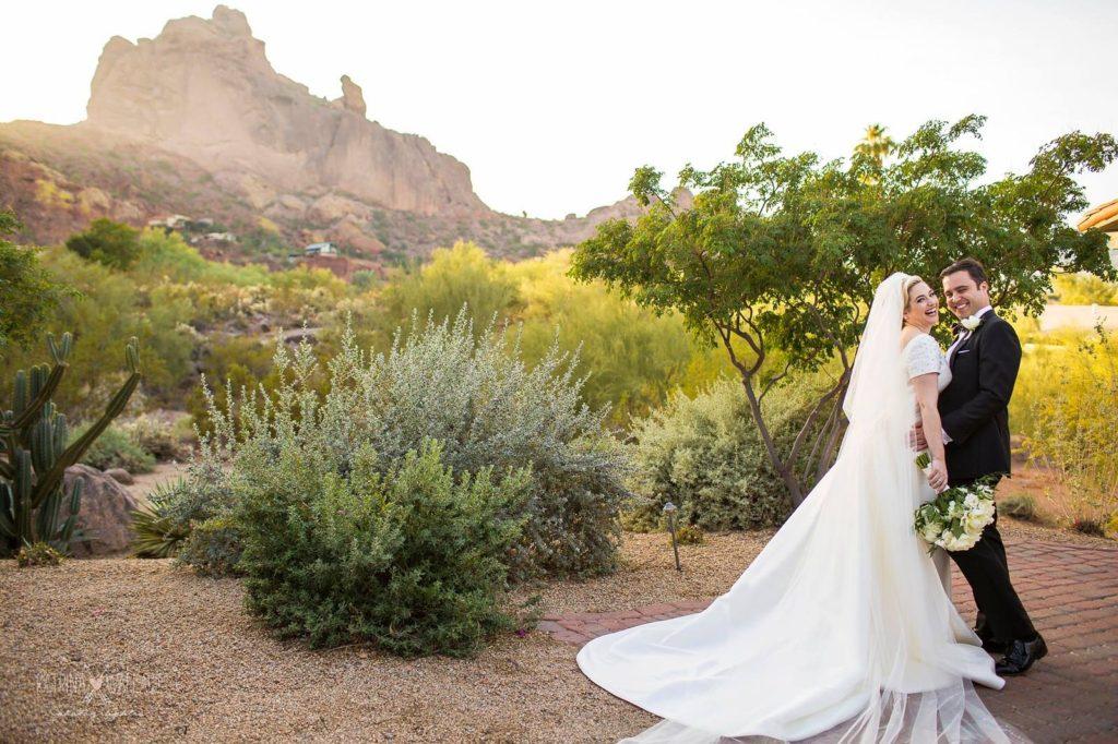 Sanctuary wedding bride and groom romantic portraits
