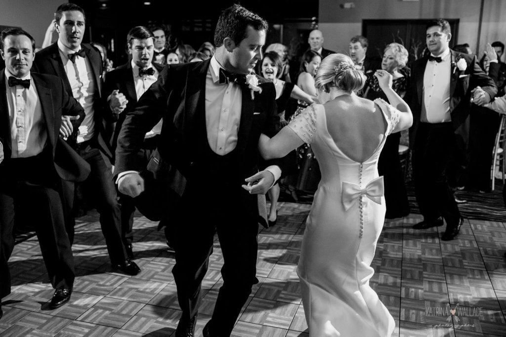 Sanctuary wedding Jewish horah dance Katrina and Andrew Photography