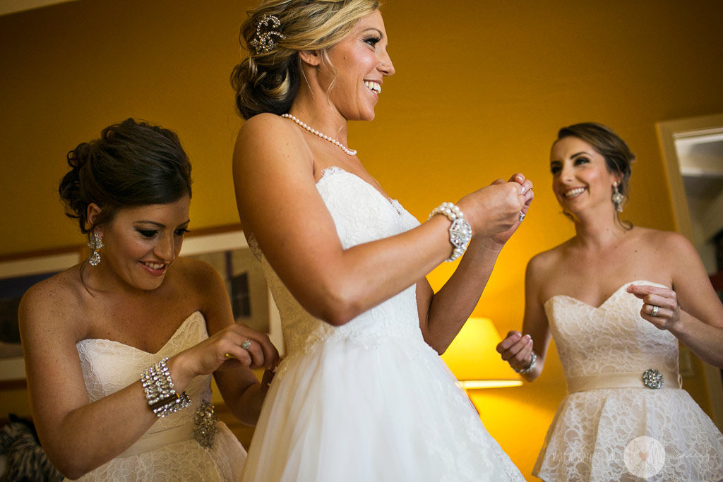 Bridesmaids getting ready for wedding