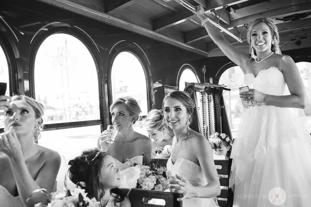 The bride and her bridesmaids head over the Brophey Chapel before the ceremony