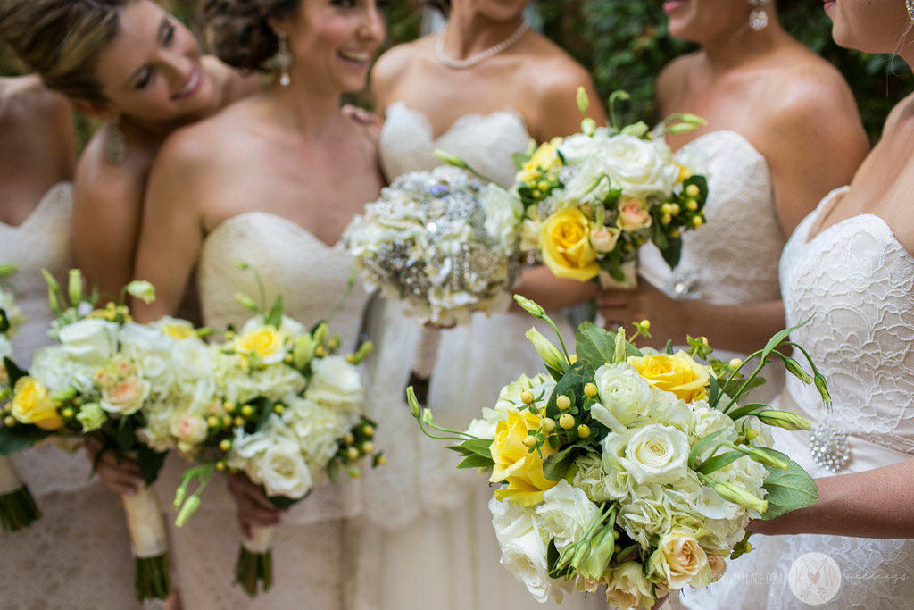 The Bridesmaids take a moment for a group shot just before the ceremony at Brophey Chapel