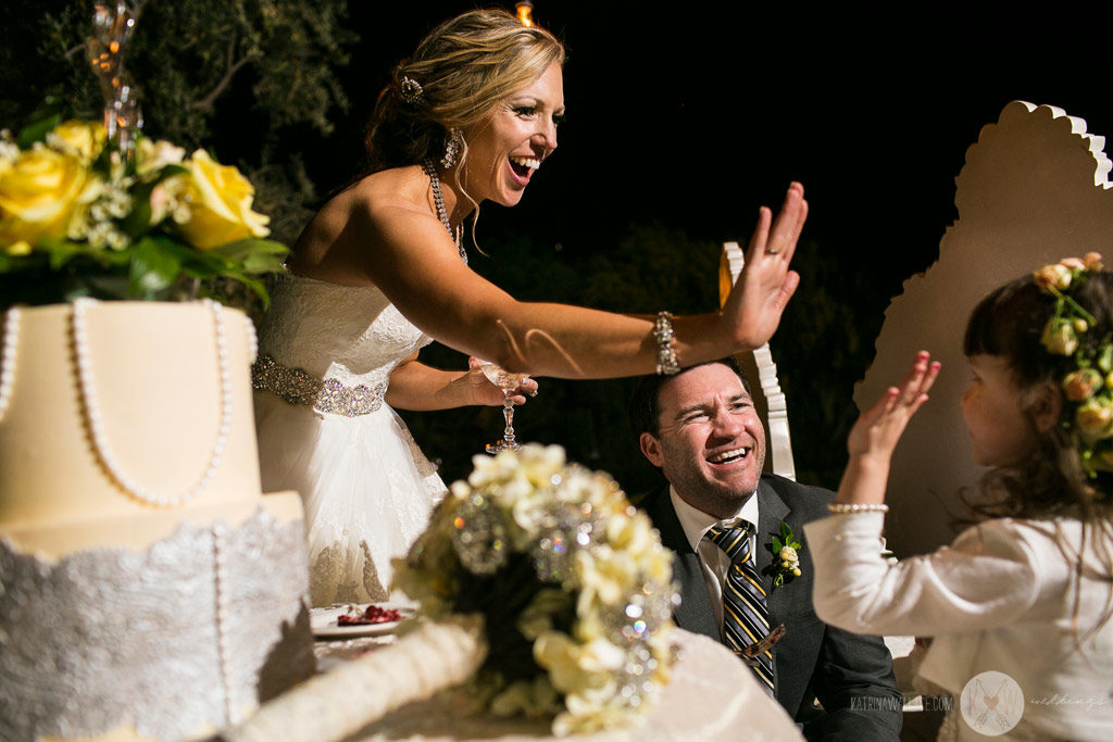 El Chorro wedding reception the bride high fives a flower girl