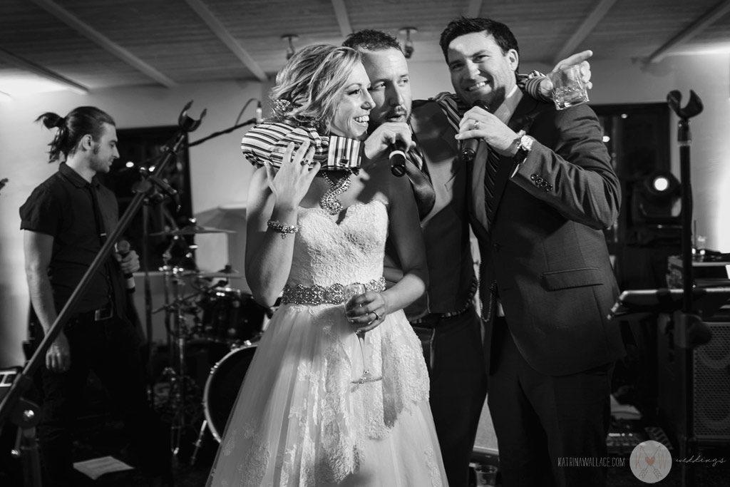 El Chorro reception Kati + Alex sing with Sapphire Sky live wedding music band