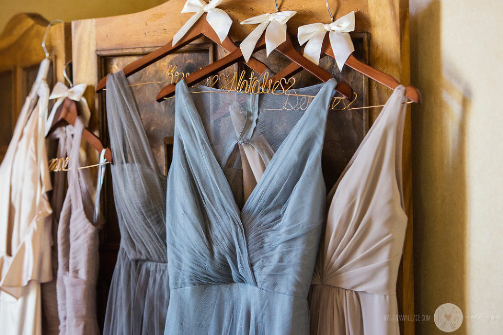 The bridal party gowns await the bridesmaids at the Four Seasons Scottsdale